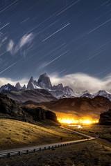 Star trail at Monte Fitz Roy in Los glaciares national park,  El Chalten Patagonia Argentina