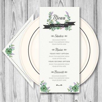 Wedding menu with watercolor flowers
