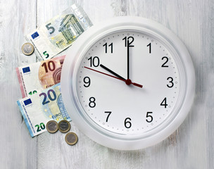 'Time is money' concept: clock with euro banknotes and coins