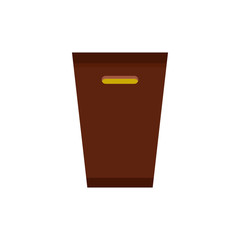 Brown trash bin icon in flat style isolated on white background