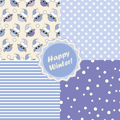 Set of 4 winter holiday backgrounds. Print. Cloth design, wallpaper, packaging paper.