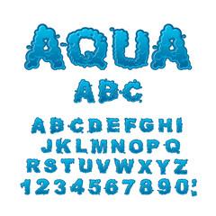 Aqua ABC. Drops of water alphabet. Wet Letters. Water font.