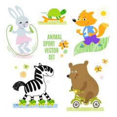 Animals sport vector illustration set.