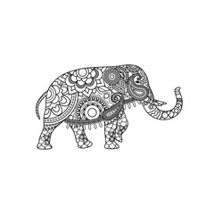 Indian elephant with decorative tribal ornament. Vector illustration