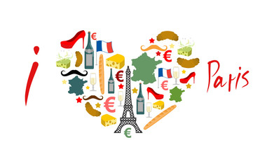 I Love Paris. Traditional French national set of icons in form o