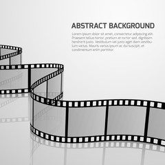 Vector cinema movie background with retro film strip roll
