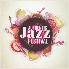 Hand painted jazz festival poster