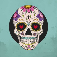 Hand drawn floral sugar skull
