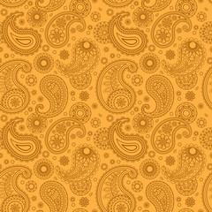 Yellow color arabic paisley pattern. Vector illustration
