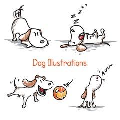 Hand drawn dog illustrations
