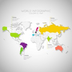 Colorful world map infographic