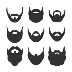 Beard silhouette set