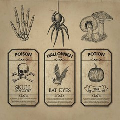 Retro halloween labels collection