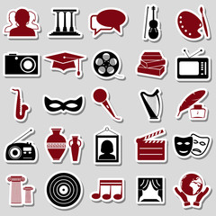 culture and art theme simple stickers icons set eps10