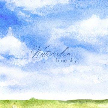 Watercolor blue sky backrgound