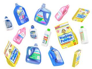 Buying of household goods. Shopping trolley full of bottles of d
