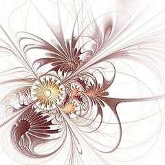 Flower background in fractal design with embossed effect. Artwor