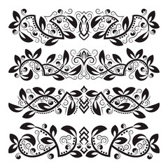 Design ornamental elements. Vintage headline decorations set. Floral tattoo in baroque style.