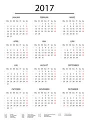 Kalender 2017 ohne Rahmen mit Feiertagen