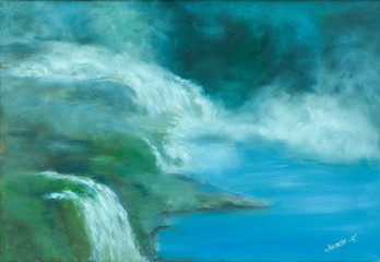 One large waterfall and several minor waterfalls pouring into a lake. The scenery is from Hardanger in Norway western Norway. Oil painting on canvas. Figurative art.