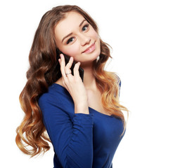 Happy woman phone talking
