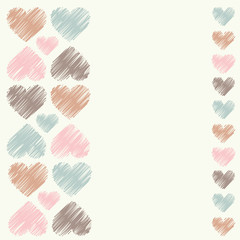 Greeting card with decorative hearts. Vector illustration.
