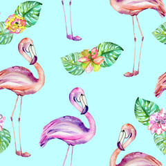 Seamless pattern with the flamingo and exotic flowers, hand painted in watercolor on a mint background
