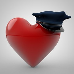 3D illustration of Heart wearing a Police Hat