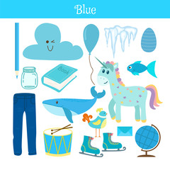 Blue. Learn the color. Education set. Illustration of primary co