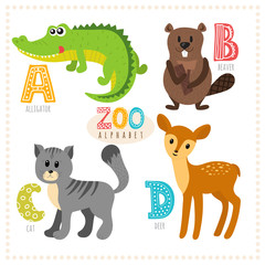 Cute cartoon animals. Zoo alphabet with funny animals. A, b, c,