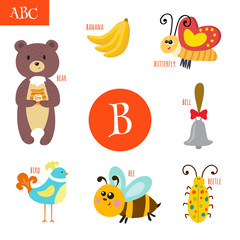 Letter B. Cartoon alphabet for children. Bear, bee, bell, bird,