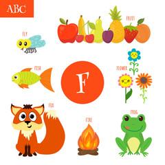 Letter F. Cartoon alphabet for children. Flower, fox, fire, frog
