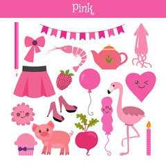 Pink. Learn the color. Education set. Illustration of primary co