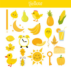 Yellow. Learn the color. Education set. Illustration of primary