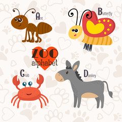 Zoo alphabet with funny animals. A, b, c, d letters. Ant, butter