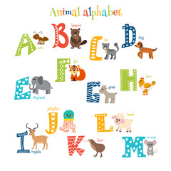 Zoo. Cute cartoon animals alphabet from A to M in cartoon style
