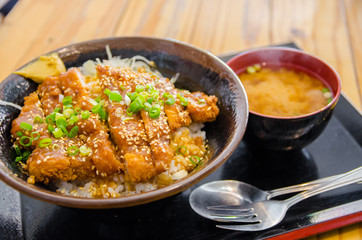 Miso pork cutlet with Miso soup