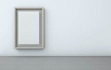 wood picture frame on white wall - 3D rendering