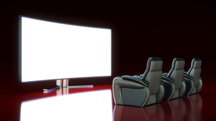 Movie Theater with blank screen. 3d rendering