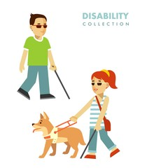 Disability blind person concept. Blind people set.