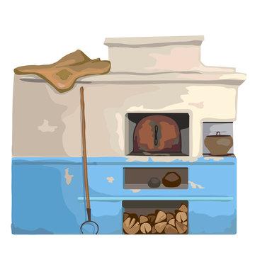 Wood old burning stove, Slavic cartoon style