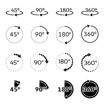 Angles 45, 90, 180 and 360 degrees vector icons set
