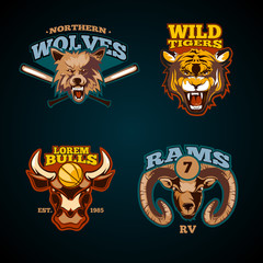 Sports vector labels with heads of animals. Wolf, bulls, ram and tiger emblems