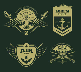 Color military vector patches