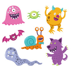 Collection of different happy halloween colorful monster animal characters