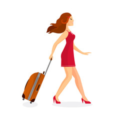 Woman with suitcase is going in airport terminal.