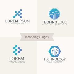 Blue technology logos