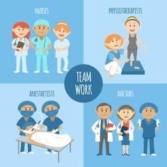 Illustrated medical teamwork