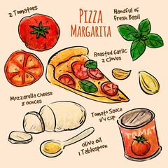 Hand drawn ingredients pizza