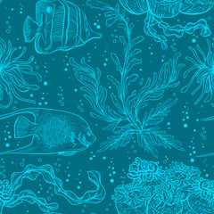 Seamless pattern with marine plants, coral, seaweed and tropical fish. Collection of hand drawn marine flora and fauna. Vector illustration
